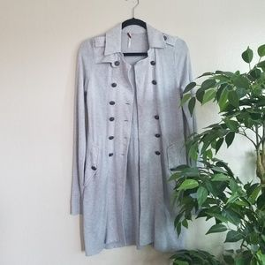 Free People Gray Button Down Cardigan